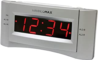 HANNLOMAX HX-136CR Alarm Clock Radio, PLL FM Radio, Dual Alarm. 0.9 inches Red LED Display, USB Port for 1A Charging (Silver)