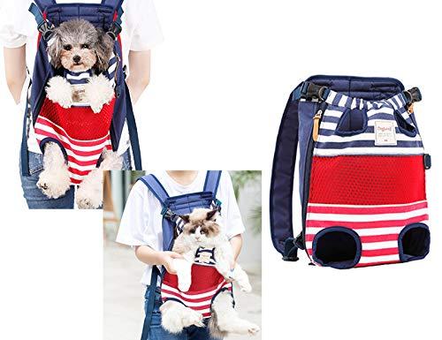 Tineer Pet Carrier Rucksack, Verstellbare Vorderbeine Out Cat Dog Träger Reisetasche, Easy-Fit für 5-12KG Small Medium Dogs Hand Free Shoulder Gepolstert für Walking, Wandern, Radfahren (Farbstreifen)
