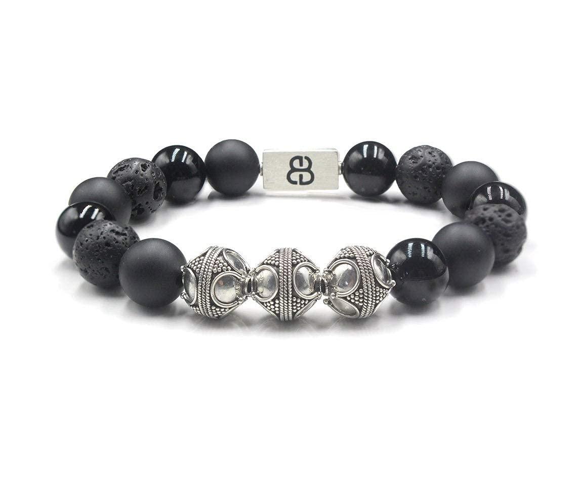 Black Onyx and Lava Austin Mall Stone Manufacturer regenerated product Mix Bracelet Designer Men's