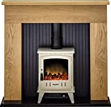Adam Innsbruck Stove Suite in Oak with Aviemore Electric Stove in Cream Enamel, 48 Inch