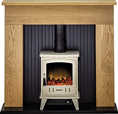 Adam Innsbruck Stove Suite in Oak with Aviemore Electric Stove in Cream Enamel, 48 Inch