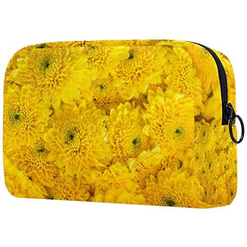 Closeup Of Yellow Flower Fondo Cosméticos Bolsa de maquillaje Bolsa de viaje portátil para mujeres y niñas clutch con cremallera