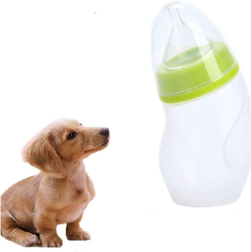 AZX - Botella de Lactancia para Mascotas, 1 Unidad con Cepillo para pezones de Silicona para Gatos, Cachorros y Animales pequeños, 180 ml