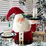 Snowy Day Babbo Natale che tiene vassoio decorazione natalizia, pupazzo di neve di Natale tratta portapiatti per piatti piani, figura di pupazzo di neve porta cupcake Santa Butler Snack Bowl Stand