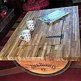 Cheeky Chicks Ltd Recyceltem Hälfte Whisky Barrel Couchtisch mit massiver Eiche Tisch Top, Jack Daniel 's Logo und Ablagefach