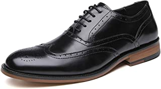 Leather Brogue Oxford for Men Wedding Dress Shoes Lace up Microfiber Leather Block Heel Round Toe Bur shoes (Color : Black, Size : 39 EU)