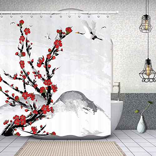 NYMB Asian Shower Curtain, Japanese Red Cherry Blossom Flower in Mountain with White Crane,Polyester Fabric Waterproof Mount Fuji Shower Curtain for Bathroom, Bath Curtain Hooks Included, (69X70in)