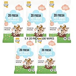 100 GOODBOY ANTI BACTERIAL PEACH SCENTED DOG PUPPY PET WIPES