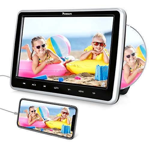 NAVISKAUTO Lecteur DVD Voiture pour Enfant 10,1 Pouce Ecran d'appui tête Slot in Design avec Câble AV Supporte Entrée HDMI Région Libre AV in AV Out USB SD