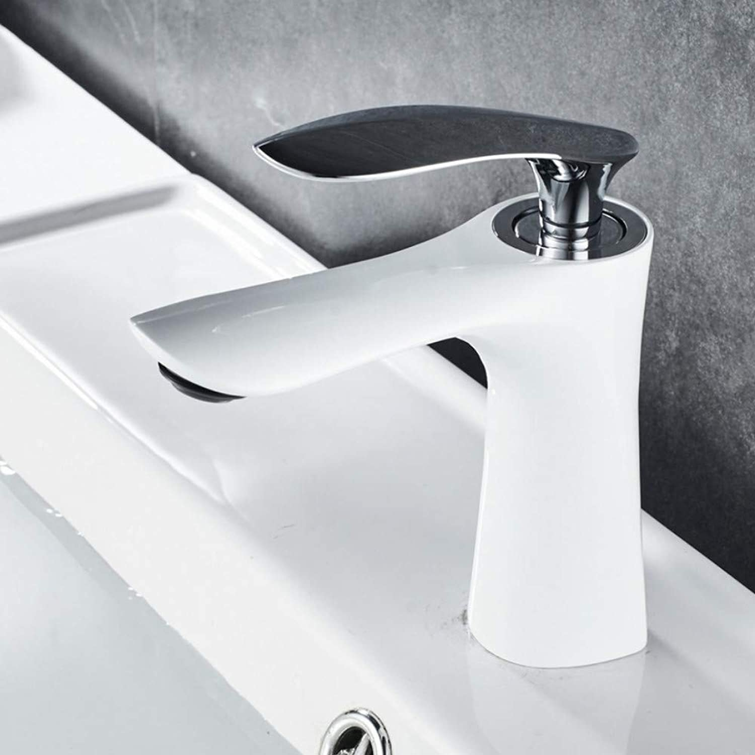 Bathroom Basin Faucets White Elegant Bathroom Faucet Hot and Cold Water Basin Mixer Tap Chrome Finish Brass Toilet Sink Water