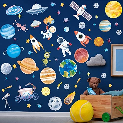 6 Sheets Space Wall Decal Planet Wall Sticker Solar System Wall Decals Galaxy Astronaut Rocket product image