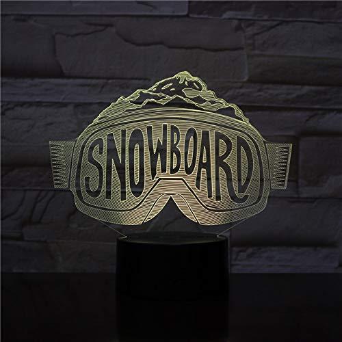 BFMBCHDJ Snowboard Glasform LED Acryl Nachtlicht mit 7 Farben Touch Fernbedienung Illusion Change Geschenk für Liebhaber