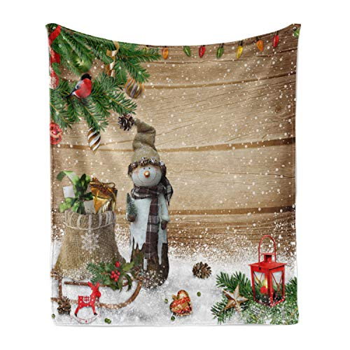 Ambesonne Christmas Soft Flannel Fleece Throw Blanket, Funny Snowman in The Garden with Present Bag Garland Lantern Kids Nursery Theme, Cozy Plush for Indoor and Outdoor Use, 50' x 70', Multicolor