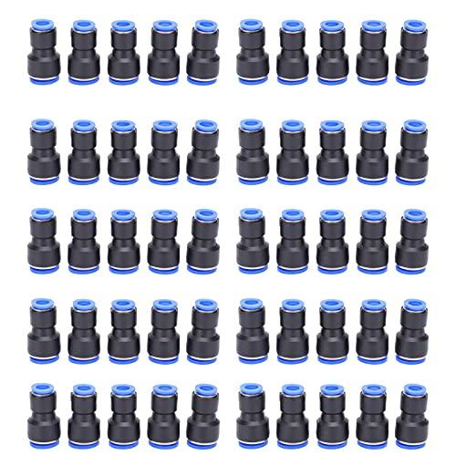 50 piezas de conector neumático de 2 vías, material plástico PBT de alta calidad, conexión rápida de manguera de tubo PU de empuje en aire PG16-10, adecuado para juntas de manguera/tubo de PU