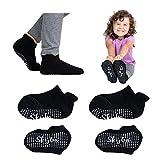Skyba Chaussettes Antidérapantes pour Tout-Petits Antidérapantes, pour Garçons, Filles, Enfants, Bébés (Medium, 4-Paires Noir)