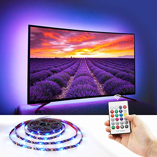 USB TV Backlight Kit for 70 75 80 82 inches, EppieBasic 18Ft TV Backlight Smart Monitor HDTV Work Space Decor with RF Remote- Cover 4/4 Sides Behind TV Background Lights Ambient Mood Lighting
