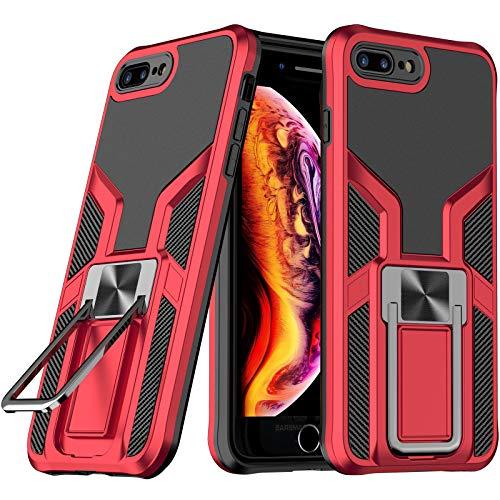 LaimTop iPhone 8 Plus Funda, Doble Capa con Soporte de Metal, Resistente a Golpes, Grado Militar Protección contra Caídas Carcasa para iPhone 7 Plus / 8 Plus Rojo