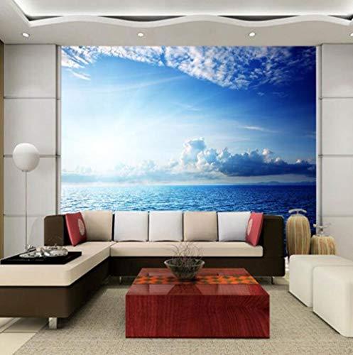 3D vliesbehang foto vlies premium fotobehang behang 3D-muurafbeelding oceaan witte wolk blauwe hemel achter TV slaapbank achtergrond in de levendige naadloze videowand landschap 300*210 300 x 210 cm.