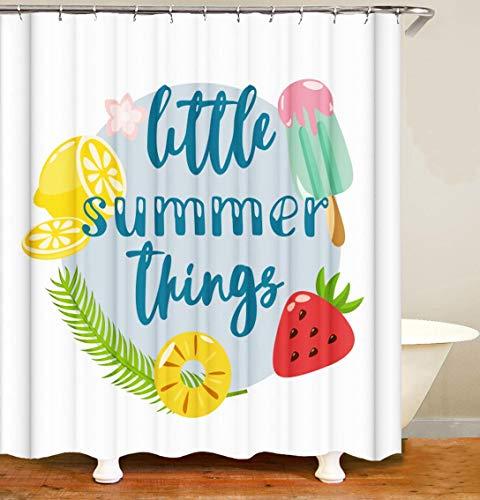 KALEFUL Sommer Duschvorhang Sommer Dekorationen 2021 Neu Sommerthema Zitrone Erdbeere Wasserdicht Anti Schimmel Weiß Polyester Badezimmer Gardinen mit 12 Haken