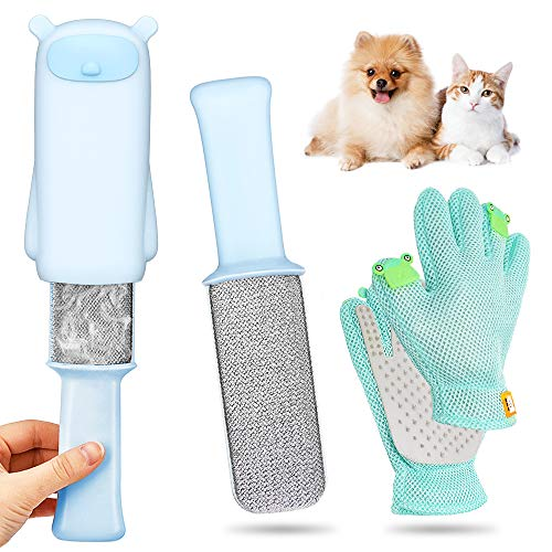 AYUQI Quitapelos para Mascotas y Cepillo para Guantes -con Removedor de pelo para Muebles,Cepillo de Limpieza Removedor de Pelaje para Perro y Gato,Depilación Eliminador de Pelo para Animales Cepillos