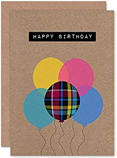 Wee Blue Coo Who Cares Scotland Birthday Tartan with Balloons Greeting Card with Envelope Inside Premium Quality