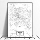 Leinwanddruck,Tiflis Georgien Schwarz Weiß Benutzerdefinierte Welt Stadtplan Poster Bilder Drucken Auf Leinwand Im Nordischen Stil Wand Kunst Leinwand Gemälde Für Die Wohnkultur Kein Rahmen, 12 X 1