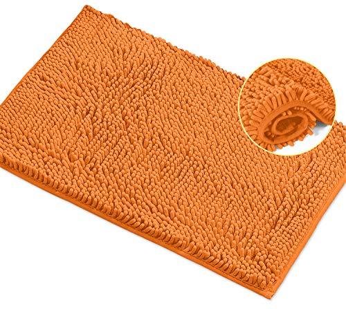 LuxUrux Alfombra De Baño Alfombra De Baño De Felpa Extra Suave para Ducha De Baño, Material De Microfibra De Chenilla De 1 '', Alfombra De Baño Peluda Súper Absorbente  Naranja 20 X 30