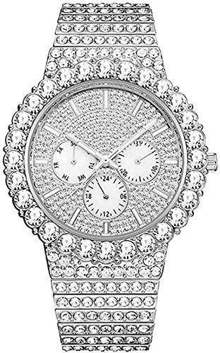 Reloj de diamantes de imitación brillante de HIP-HOP Hombre, correa de acero inoxidable de dial análogo de diamante de diamante de diamante de lujo brillante,rapero de banda pulsera de encanto