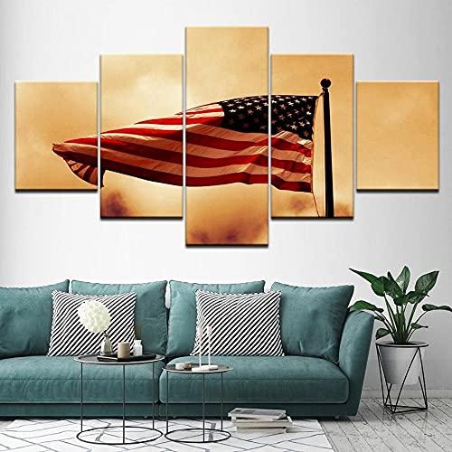 HGFDS Lienzo Impreso sobre Lienzo de 5 Piezas para Pared HD Print Bandera Americana Retro Volando 5 Panel Canvas Pictures Poster Home Wall Decor Artwork Mural Foto