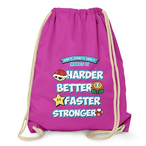 Nerd Clear Sac de gym pour berger Harder Faster Stronger, Mixte, Sacs à cordon, VEND-98055, fuchsia, Taille unique
