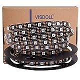 VISDOLL 12V WS2812B 個別アドレス可能なドリームカラーLEDストリップライト 5050 RGB 16.4フィート デュアルシグナルワイヤ プログラム可能なLEDピクセルフレキシブルライトテープ WS2815 Non-waterproof ブラック