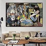Laminas para Cuadros PóSter De Lienzo Impreso Pinturas Al óLeo Famosas RéPlica Mujeres De Argel De Picasso Cuadro De Arte De Pared Abstracto Decoracion De Salon De Estar 50x70cm x1 Sin Marco