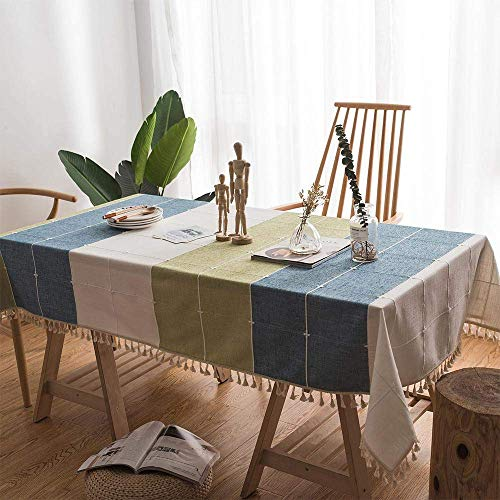 SANEKI Mantel de algodón y Lino para Mesa de Comedor o Cocina con diseño de Borla Lavable manteles rectangulares (140X250)