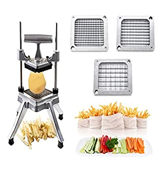 TOPHORT French Fry Cutter Commercial Vegetable Dicer Potato Fries Cutter Machine with 1/2-Inch 3/8-Inch 1/4-Inch Blades