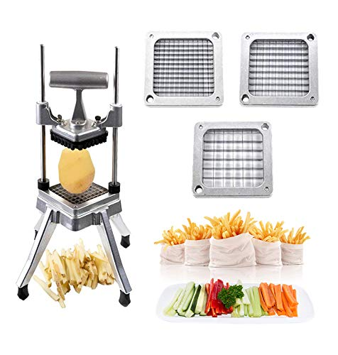 TOPHORT French Fry Cutter Commercial Vegetable Dicer Potato Fries Cutter Machine with 1/2-Inch, 3/8-Inch, 1/4-Inch Blades