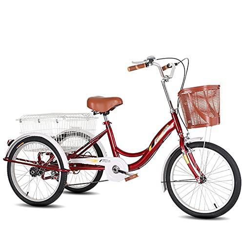 Triciclo para adultos bicicleta Triciclos Adultos 3 Bicicletas De Ruedas Con Marco De Acero De Alto Carbono Bicicleta De Una Sola Velocidad 20 Pulgadas De Tres Ruedas Crucero Bicicleta Par(Color:rojo)