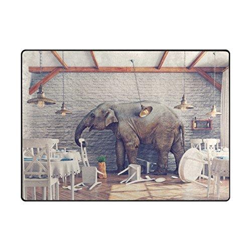 MyDaily Teppich mit Elefanten-Motiv Calm in Restaurant, 1,2 x 1,5 m, für Wohnzimmer, Schlafzimmer, Küche, dekorativ, Leichter Schaumstoff-Teppich, Polyester, Multi, 4'10