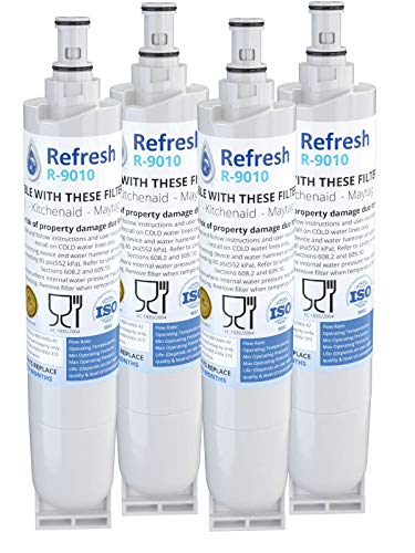 Refresh Replacement for Whirlpool 4396508, 4396510, EDR5RXD1, NLC240V, Kenmore 9085, Kitchenaid, Maytag, and Whirlpool Side By Side Refrigerator Water Filter - R-9010 4-S (4 Pack)