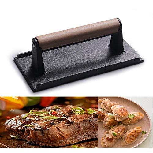 Fonte Bacon Press/Poids à Steak,Heavyduty Cast Iron with Wood Handle, Noire,21cm*11cm