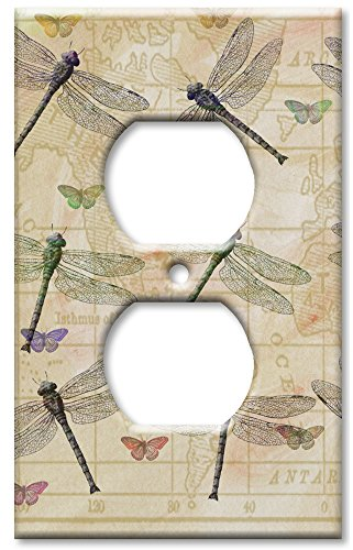 Art Plates - Outlet Cover OVERSIZE Switch Plate - Dragonflies & Butterflies