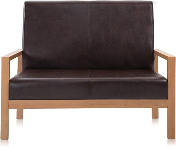 Krei Hejmo Wooden Armchairs Sofa Couch With Vinyl Leather Loveseat Natural Finish Wood Chestnut Brown Upholstery