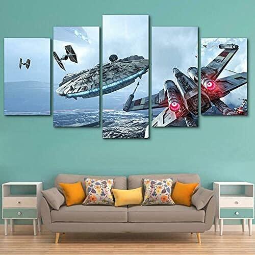COCOCI 5 Panel Leinwand Bild 5 Teilig Star Wars Movie Spaceship Battle Vlies Leinwandbild 5 TLG Kunstdruck Modern Wandbilder Leinwand Bilder Fotoleinwand FüR Zuhause Wandbilder Wohnzimmer Modern