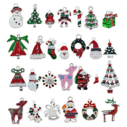 JJGrace 30pcs Assorted Silver Plated Enamel Christmas Tree Santa Claus Reindeer Dainty Dangle Xmas Gifts Charms for Earrings Jewelry Making Necklace Bracelet