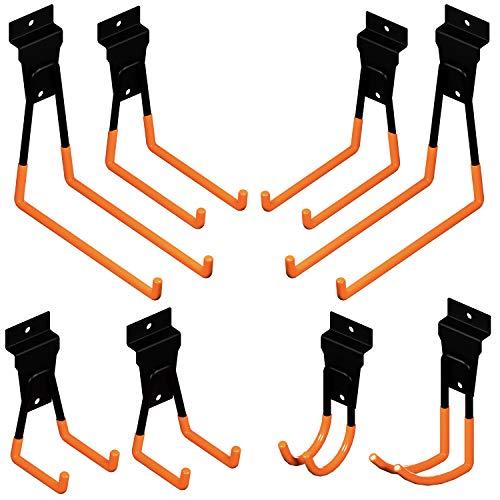 8PCS Slatwall Hooks - Slatwall Accessories - Garage Hooks - Slat Wall Hooks - Heavy Duty Hooks - Garage Organization Rack for Bicycle Storage, Power Tool Organizer, Tool Hanger, Ladder Storage