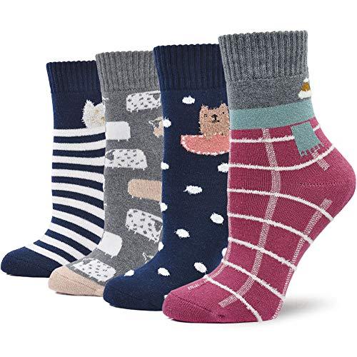 LOFIR Dicke Damen Socken aus Baumwolle Winter Thermo Socken Warme Strümpfe Süß Tier Karikatur Socken Gemütlich Geschenk Socken Größe 35-41, 4 Paare, Multicoloured 2, for women shoes size 35-41