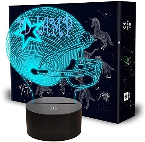 XKUN Verwendet Für 3D Nachtlicht Led Optische Täuschung Lampe Smart Toy Lampe Usb-Ladetisch Schreibtisch Schlafzimmer Wohnzimmer Innendekoration Indoor,Football Helm