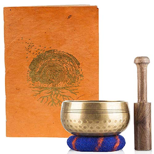 Tibetan Singing Bowl and Unique Handmade Lokta Paper Notebook Meditation Set — Sound Bowl Handcrafted in Nepal and Eco-Friendly Lokta Paper Journal That is Hand Stitched and Bound in Nepal