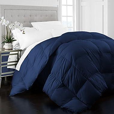 Beckham Hotel Collection 1400 Series Egyptian Quality Cotton Goose Down Alternative Comforter - 750 Fill Power - Premium Hypoallergenic All Season Duvet -King/Cal King - Navy