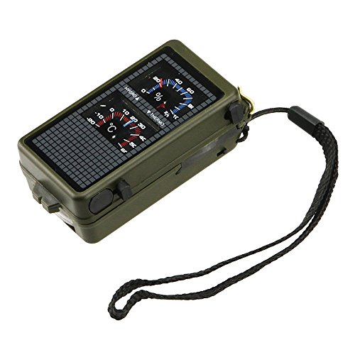 WANGSAURA 10 in 1 multifunzione per campeggio, Hiking, sopravvivenza militare bussola SOS Life-Kit di attrezzi per utensile a risparmio energetico