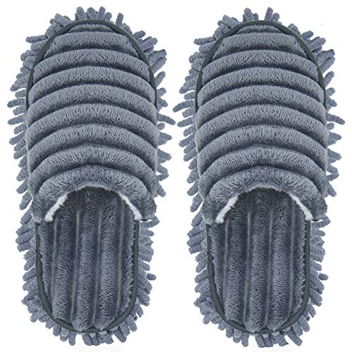 Microfiber Slippers Floor Cleaning Mop Men and Women House Dusting Slippers Floor Dust Dirt Cleaning Slipper (Blue-grey, Women 7-10/Men5-8)